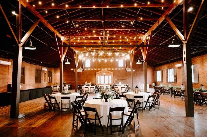 interior of rustic barn wedding venue